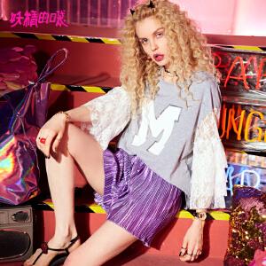 妖精的口袋巨袖t恤女新款复古宽松喇叭袖蕾丝t恤女