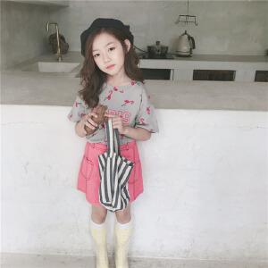 乌龟先森 儿童T恤 女童T恤短袖打底衫中大童夏季新款儿童韩版卡通图案T恤衬衫