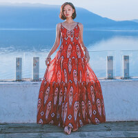 夏季女装收腰露背吊带裙雪纺连衣裙波西米亚长裙海边度假沙滩裙子 图片色