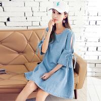 韩都衣舍2017韩版装女夏装新款纯色宽松镂空牛仔连衣裙