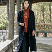 布符2018秋冬新款长款毛呢翻领外套女士修身收腰复古长袖呢子大衣