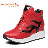 红蜻蜓真皮女单鞋 春季新款系带舒适女休闲鞋摇摇鞋
