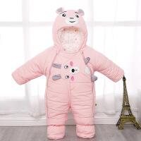 新生儿冬季羽绒棉连体衣婴儿加厚外出服棉衣套装宝宝包脚保暖抱被