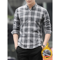 青年韩版休闲潮流男装格子衬衣加绒衬衫男长袖保暖冬