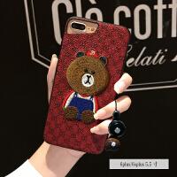 皮质刺绣苹果8手机壳可爱iPhone7硅胶套X女款韩国潮牌6plus挂绳8p 6p/6sp 5.5寸 红底熊-刺绣