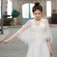 新娘披肩韩版加大码婚纱披肩镶钻白色春夏季薄款纱斗篷蕾丝披肩AA