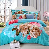 秋冬床上四件套1.8m床品加厚磨毛床单被罩单人被子三件套1.5 乳白色 花香似情绿