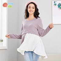 贝贝怡孕妇针织t恤2019秋季新款产妇产前产后时尚潮流拼接上衣