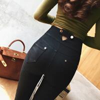 凡舒的店秋季新款韩版高腰弹力薄款双排扣显瘦打底裤女铅笔裤长裤 黑色