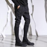 春季新品发型师小脚裤男韩版修身9分裤个性拼接黑色潮流哈伦靴裤