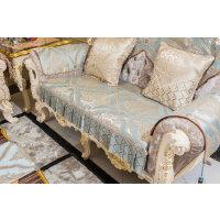 欧式沙发垫 沙发套罩 北欧米黄色刺绣防滑沙发坐垫 开口靠背巾