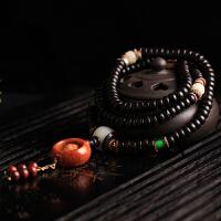 天然海南原色椰壳佛珠108颗手链配橄榄一心向佛油润黑亮男女礼物