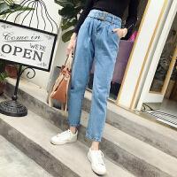牛仔裤女冬季新款韩版高腰纯色chic哈伦裤显瘦九分裤潮
