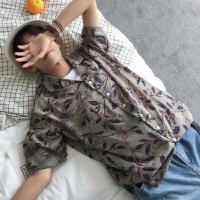 夏款宽松短袖衬衫男沙滩碎花西装领衬衣原宿学生薄款夏威夷风外套