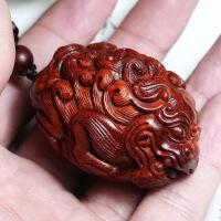 【招财貔貅】正宗印度小叶紫檀手把件吊坠 雕刻挂件 貔貅挂件