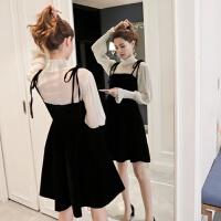 2018丝绒黑色赫本小黑裙吊带连衣裙两件套女冬季新款打底套装裙子
