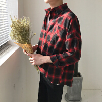 红黑格子衬衫男长袖韩版潮牌学生bf风日系宽松帅气夏季薄款