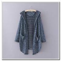 大码女装 秋冬胖MM200斤韩版宽松条纹九分袖针织衫开衫外套