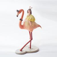 奇居良品白夜童话火烈鸟 北欧家居装饰品样板房摆件创意礼物雕塑