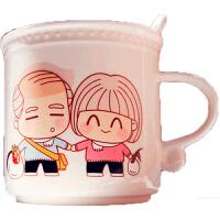 可爱卡通白头偕老情侣陶瓷变色水杯一对diy创意简约结婚生日礼品礼品