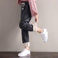 加绒裤子女休闲裤冬装新款宽松大码羊羔绒高腰直筒裤紫色运动长裤
