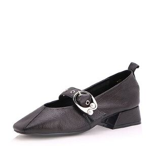 Belle/百丽2017秋季新款牛皮一字扣带复古珍珠方头玛丽珍鞋浅口女单鞋99619CQ7