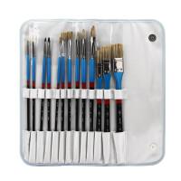 水粉笔套装*鬃银色水粉画笔套装美术色彩油画水彩扇形勾线笔油画刷扇形笔配笔袋惊喜的文具节日礼品 13支画笔+笔袋