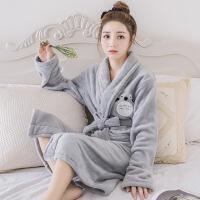 珊瑚绒睡衣女冬季甜美可爱龙猫加厚保暖睡袍卡通秋天法兰绒家居服