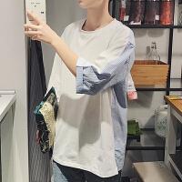 2018青少年春夏季新款男装港风短袖T恤圆领宽松条纹拼料半袖TEE
