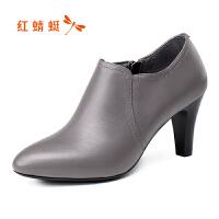 红蜻蜓女鞋 新款正品时尚尖头高跟鞋女真皮粗跟单鞋踝靴