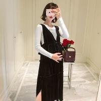 孕妇装2018秋冬新款韩版中长款孕妇连衣裙针织毛衣两件套套装