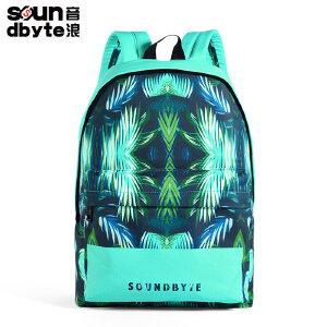 【支持礼品卡支付】soundbyte蓝色麻叶双肩包男休闲帆布学生书包斧头印花背包电脑包