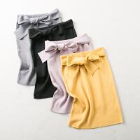 @福利@2018春装新款甜美百搭系带纯色针织包臀半身裙