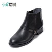 茵曼女鞋新款短靴真皮平底马丁靴英伦风切尔西靴4873072007