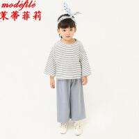 茉蒂菲莉 亲子装 春季新款童装条纹开口袖细条纹男女童T恤中性透气韩版家庭亲子装