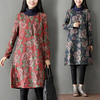 中国风连衣裙新款春装加厚印花 民族风长袖高领棉麻连衣裙女