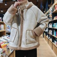 chic羊羔毛外套麂皮�q男士秋冬季棉衣2018新款厚�n版潮流棉�\