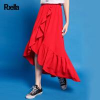 时尚半身长裙新款荷叶边不规则学生少女雪纺蛋糕裙chic红色裙子夏20010209