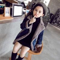 女童秋冬外套2018新款韩版儿童甜美洋气牛仔加绒加厚潮上衣中长款 牛仔蓝三粒扣子
