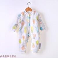 冬季婴儿连体衣秋冬季加厚棉衣宝宝夹棉内衣保暖纱布3-12个月秋冬新款