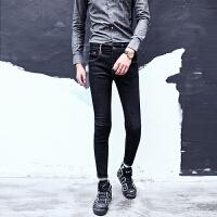 男装 秋冬时尚黑色潮小脚裤 英伦显瘦百搭修身牛仔长裤