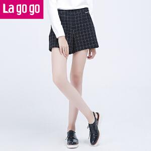 Lagogo新款女装显瘦西装裤宽松大码阔腿裤韩版格子秋冬外穿短裤女