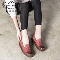 玛菲玛图2017新款单鞋女复古文艺擦色英伦风女鞋平底厚底深口鞋子363-11LY