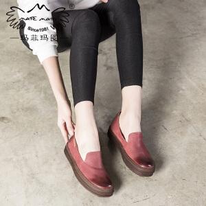 玛菲玛图2018新款单鞋女复古文艺擦色英伦风女鞋平底厚底深口鞋子363-11LY