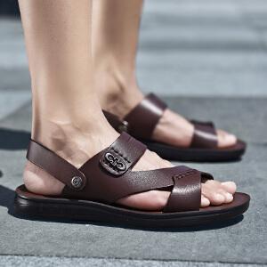 鳄鱼恤夏季新款真皮沙滩鞋男士牛皮凉鞋正品透气休闲露趾两用拖鞋男凉皮鞋