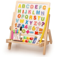 实木儿童画板画架小黑板升降支架式家用磁性画画套装写字板