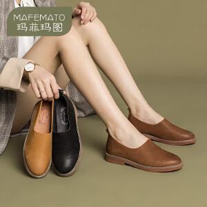 玛菲玛图低跟单鞋女一脚蹬懒人鞋乐福鞋时尚百搭女鞋休闲鞋 108-21S