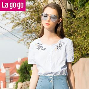 Lagogo2017年夏季新款上衣短袖刺绣韩版修身休闲小清新衬衫女