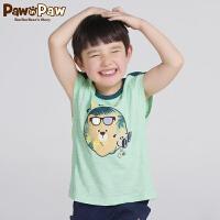 【3件3折 到手价:77】Pawinpaw卡通小熊童装新款秋男童撞色印花背心中大童拼接上衣