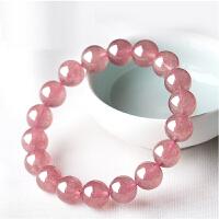 草莓晶手链女 天然粉晶蔷薇水晶手串创意礼品